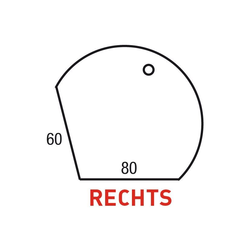 Los Aanbouwblad Druppelmodel Rechts 120Cm/60-80Cm
