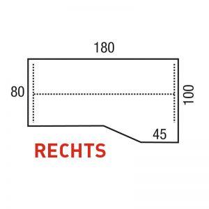 Los blad alphamodel 180x100/80x45cm Rechts