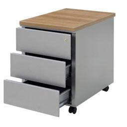 Rolblok met 3 lades in kleur onderstel en topblad in kleur bureaublad (14N003T-topblad)